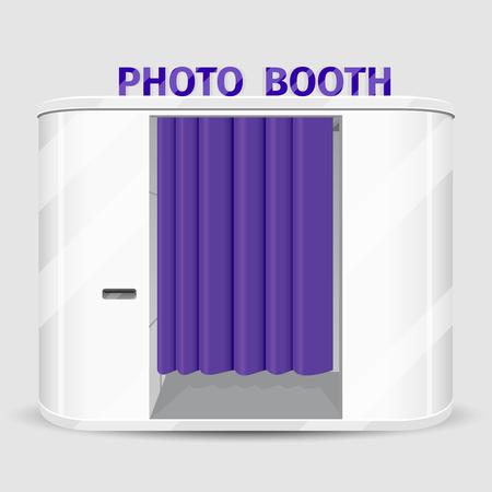 Weiß Fotokabine Automaten. Fotografie Maschinenservice, Kabine schnell schießen. Vektor-Illustration