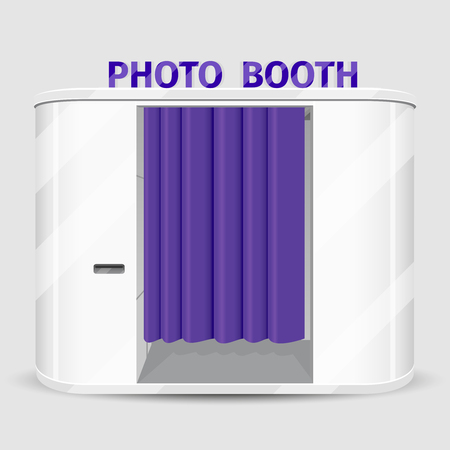 photo shoot: White photo booth vending machine. Photography machine service, cabin quick shoot. Vector illustration