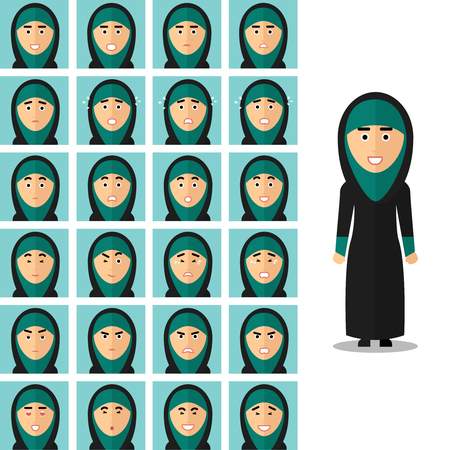 Face emotions of arab woman. Portrait girl arabic, happy sad or angry. Vector illustration set in flat style Illustration