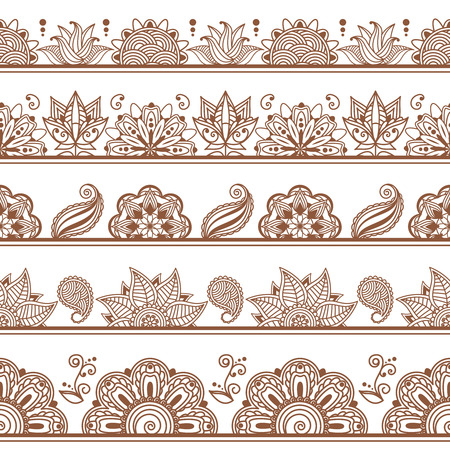 flower designs: Seamless borders or patterns in indian style with abstract floral elements. Decoration ornate, decorative, illustration vector. Henna tattoo, Mehndi