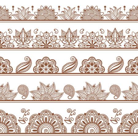 frontières sans soudure ou des motifs dans le style indien avec des éléments floraux abstraits. Décoration fleuri, décoratif, illustration vectorielle. Henna tattoo, Mehndi