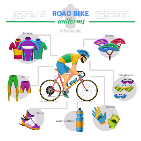 wheel: Road bike uniforms vector infographic. Bicycle and glove, jersey and helmet, shoes comfort illustration Illustration