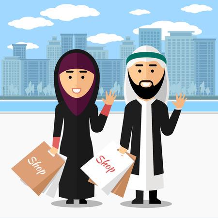 persona feliz: Pareja de compras árabe. Mujer y hombre con la bolsa, estilo de vida feliz y sonriente, ilustración vectorial