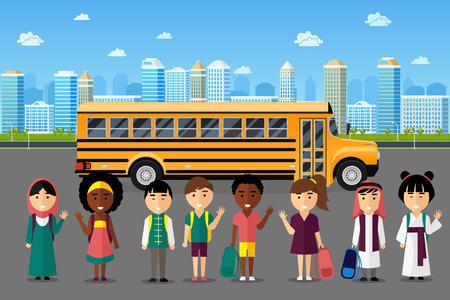 niños felices: niños multinacionales ir a la escuela. Árabe grupo chino japonés, infancia feliz sonrisa, ilustración vectorial