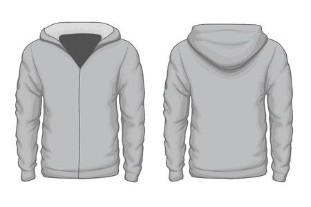 fashionable: Hoodies shirt template. Cloth fashion, cotton sportswear warm. Vector illustration Illustration