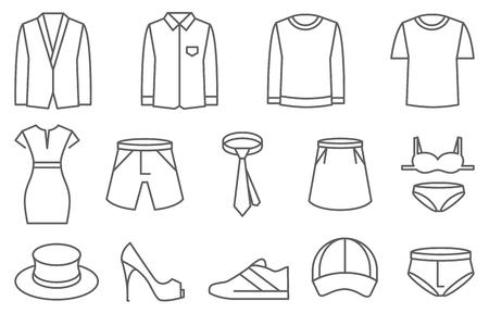 clothing: Clothes vector line icons set. Clothing illustration, fashion shoe jacket hat and shirt
