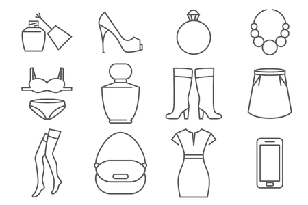 white clothes: Womens accessories and clothes line icons set. Shoe and  underwear, vector illustration