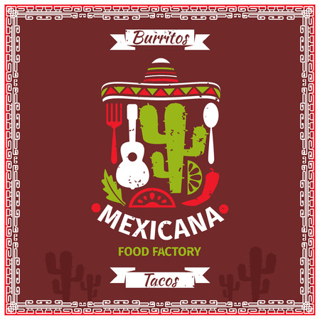 cibo: alimentare poster modello di disegno vettoriale messicano. Ristorante illustrazione, retro bandiera annata per il menu Vettoriali