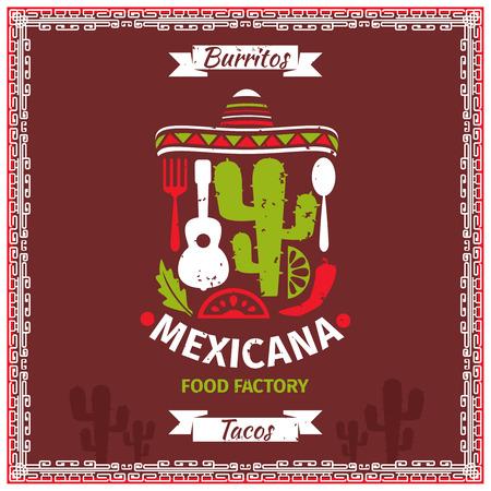 sombrero de charro: Cartel de alimentos dise�o de la plantilla de vectores mexicana. Ilustraci�n de restaurante, la bandera retro de la vendimia para el men� Vectores