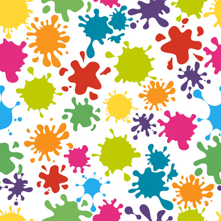 splatter paint: Paint splats pattern seamless. Rainbow colorful messy dirty splatter, vector illustration