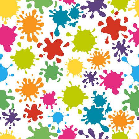 simboli di vernice modello senza soluzione di continuità. Arcobaleno colorato disordinato sporco splatter, illustrazione vettoriale Vettoriali