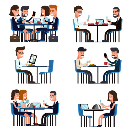 team working: Business lunch break. Food and meeting, people colleague sitting, vector illustration