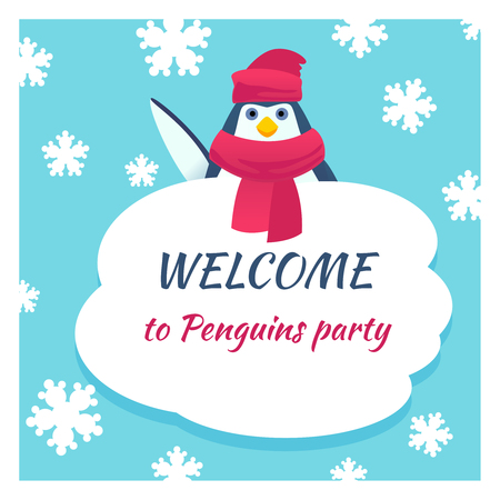 animal background: Funny penguin poster. Animal winter card, snow and happy bird, vector illustration