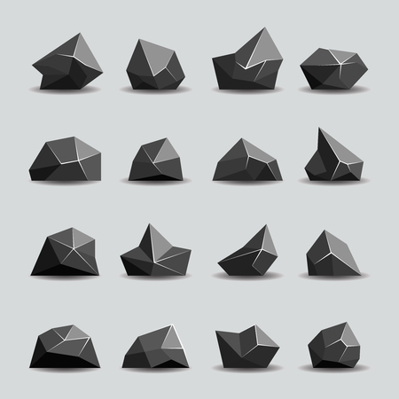 polygons: Black polygon stone and poly rocks. Geometric crystal, polygonal object, vector illustration Illustration