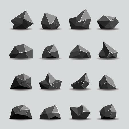 to polygons: piedra polígono negro y rocas poli. cristal geométrico, objeto poligonal, ilustración vectorial