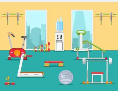 フラット スタイルのフィットネスジム。スポーツ トレーニング屋内の室内空間。ベクトル図