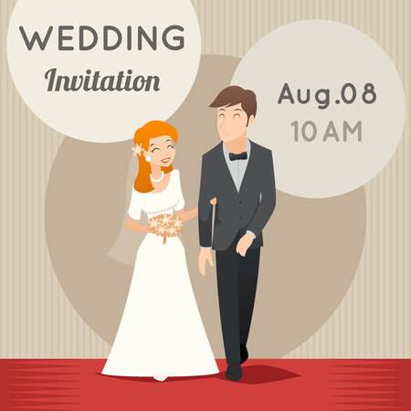 couple amoureux: Bride and groom. Vector template wedding invitation. Love  marriage, greeting and celebration illustration