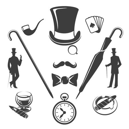 Vintage Gentlemen Symbols Fashion Old Hipster Glasses And Hat