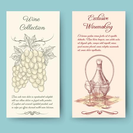 wine making: Wine and wine making vertical banners. Bottle label, fruit vintage, vector illustration