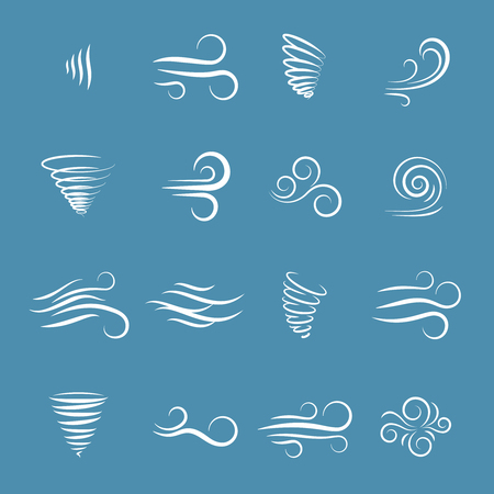 aire puro: iconos de viento naturaleza, onda que fluye, fresco tiempo, el clima y el movimiento, ilustración vectorial