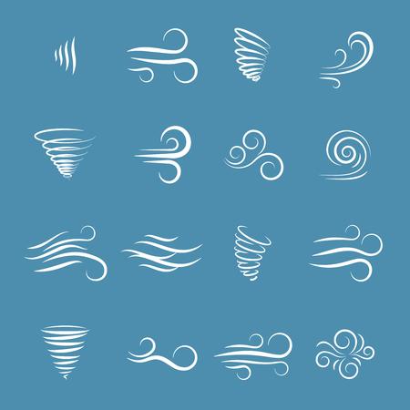 Ikony wiatrowe natura, fala płynie, chłodna pogoda, klimat i ruch, ilustracji wektorowych Ilustracje wektorowe