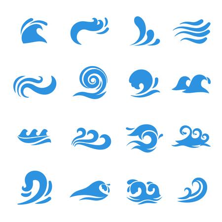 Iconos de onda. Elemento agua de mar, la curva de líquido océano, que fluye tormenta remolino, ilustración vectorial