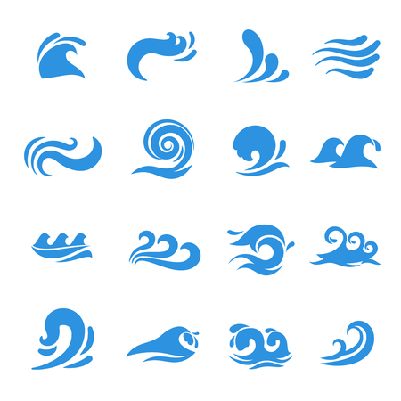 blue wave: Wave icons. Water sea element, ocean liquid curve, flowing swirl storm, vector illustration Illustration