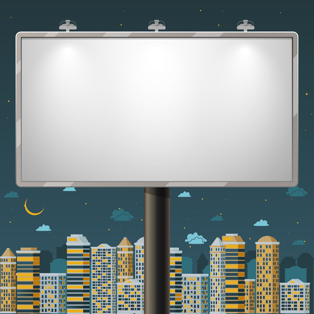 billboards: Blank billboard at night time. Advertise commercial, outdoor board poster, vector illustration Illustration