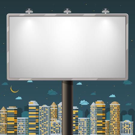 Cartelera en blanco en la noche. Publicidad del cartel tarima de exterior, ilustración comercial, vector Vectores