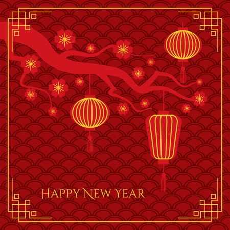 editable sign: Abstract chinese new year background with chinese lanterns on tree branch on traditional waves pattern