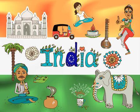 mahal: Republic india national symbols flag background vector illustration