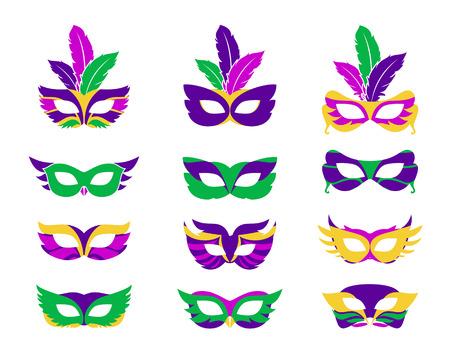carnaval: Mardi gras mask, vecteur de mardi gras masques isolés sur blanc Illustration