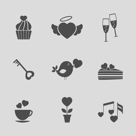 love declarations: Valentines day icons, vector signs for valentines day cards