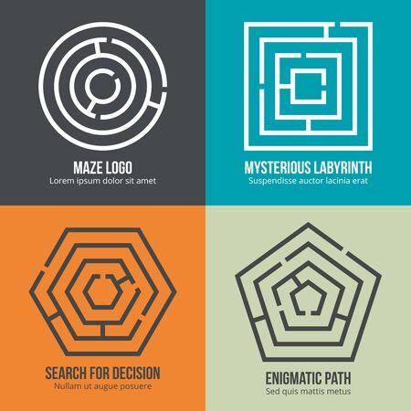 mystery: Labyrinth, maze shape design set. Rebus logic, game search mystery. Vector illustration Illustration