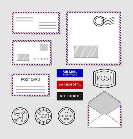 letter envelopes: Airmail envelopes, postcard and badges set. Post stamp on letter, vector illustration