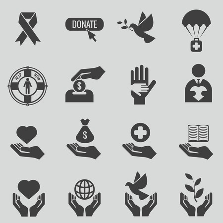 humanitarian: Charity and donation black icons set. Care and heart, love and donate hand, humanitarian support, vector illustration Illustration