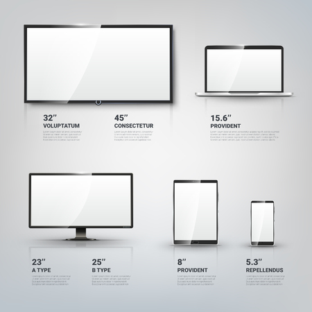 TV screen, Lcd monitor and notebook, tablet computer, mobile phone templates. Electronic devices infographic. Technology digital device, size diagonal display. Vector illustration