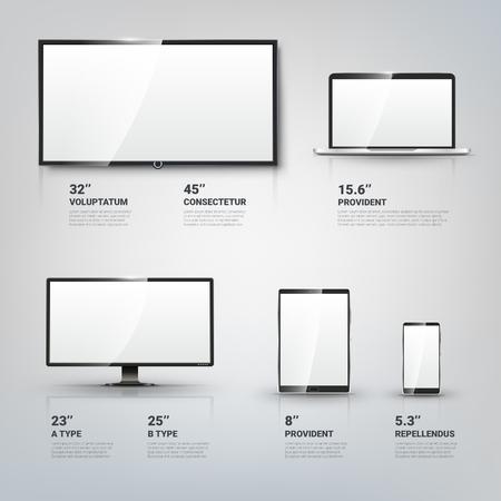 TV-Bildschirm, LCD-Monitor und Notebook, Tablet-Computer, Handy-Vorlagen. Elektronische Geräte Infografik. Technologie digitale Geräte der Größe Bildschirmdiagonale. Vektor-Illustration