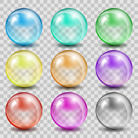 glass reflection: Abstract glass color spheres on transparent background. Ball shiny transparent, bubble reflection and glossy, vector illustration