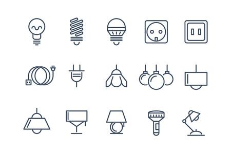 enchufe de luz: iconos conjunto de lámparas y bombillas de línea. Símbolos eléctricos, de energía eléctrica, bombilla fluorescente ilustración vectorial o halógeno