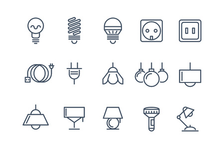 electrical energy: Lamp and bulbs line icons set. Electrical symbols, energy electric lightbulb, fluorescent or halogen vector illustration