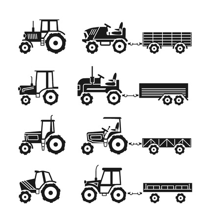 agrimotor: Tractors icons set. Transport vehicle for agriculture farm, vector illustration