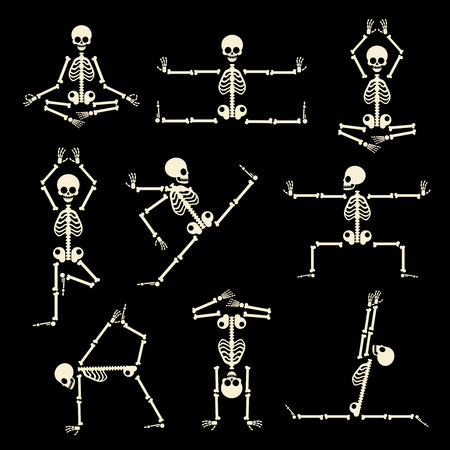 Kung fu and yoga skeletons set. Human pose anatomy, body comic, healthy fitness, vector illustration Stock Vector - 50635766