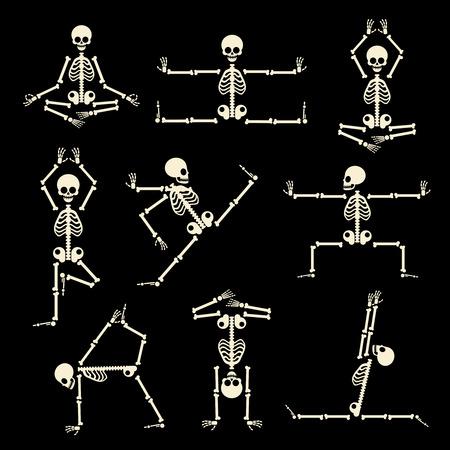 Kung Fu y yoga esqueletos conjunto. La anatomía humana pose, cómico cuerpo, de buena condición física, ilustración vectorial