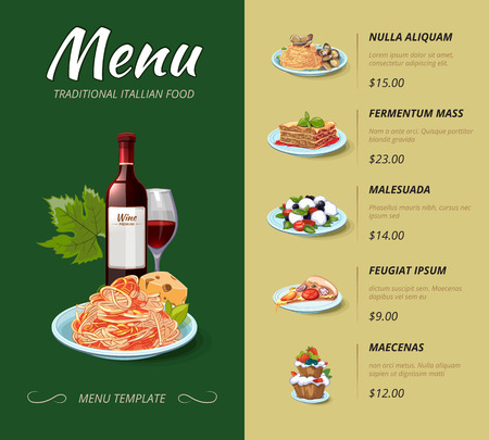 Italian cuisine restaurant menu. Food dinner, cooking lunch, pasta spaghetti, italy cheese illustration. Vector design template Vettoriali