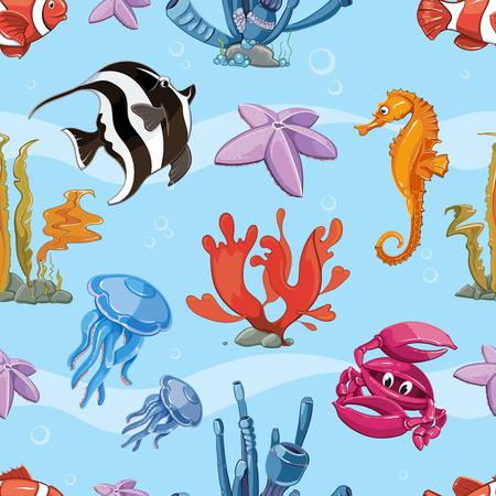 cangrejo caricatura: bajo el fondo de vectores sin fisuras con animales marinos. patrón de la naturaleza océano con peces marinos y la fauna ilustración Vectores
