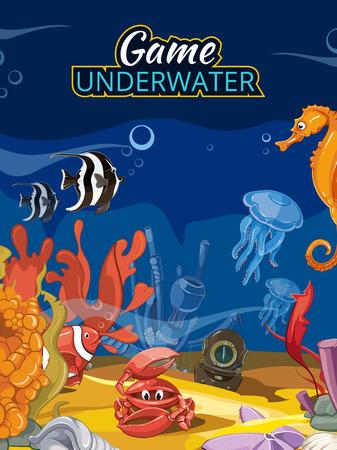 Podwodny świat gier komputerowych. Ocean ryb i fauny Dzika meduzy rozgwiazda i krab ilustracji. Ekran wektorowych w stylu cartoon z tytułem
