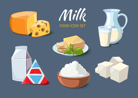Milk products icons in cartoon style. Food organic cheese and butter, curd and feta, vector illustration