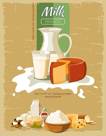 milk products: Milk products vintage vector poster. Organic natural fresh cheese, nutrition for breakfast illustration