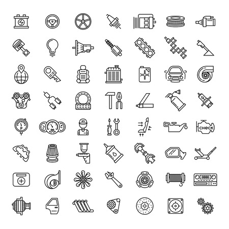 icônes de ligne de pièces de voitures réglées. symbole de service automatique de réparation, le moteur de vitesse, clé et filtre, illustration vectorielle Vecteurs